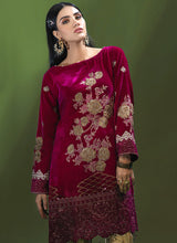 Load image into Gallery viewer, Scarlet Red Azalea Velvet Kurti - LebaasOnline