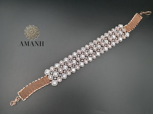 Rose gold American Diamond Choker - LebaasOnline