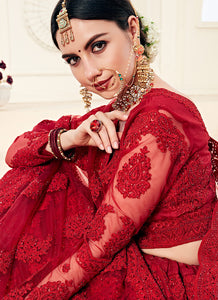 Red Heavy Embroidered Lehenga by Alizeh