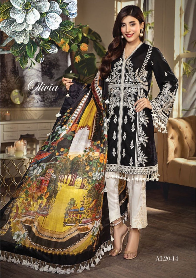 Anaya Luxury Lawn 2020 Suit black and tropical