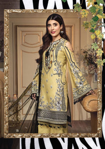 Anaya Luxury Lawn 2020 Suit jet-black and daisy yellow