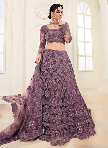 Purple Heavy Embroidered Lehenga by Alizeh