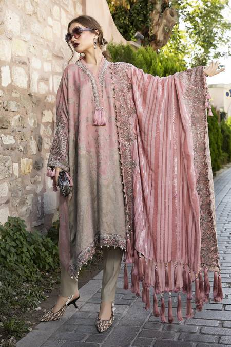MARIA B | Linen Winter Collection DL-802-Ash Pink. Buy Maria B Pakistani Dresses Online at Lebaasonline & Look good with our latest collection of Indian & Pakistani designer winter wedding clothes, Lawn, Linen, embroidered sateen & new fashion Asian wear in the UK. Shop PAKISTANI DESIGNER WEAR UK ONLINE 2020 SUITS.