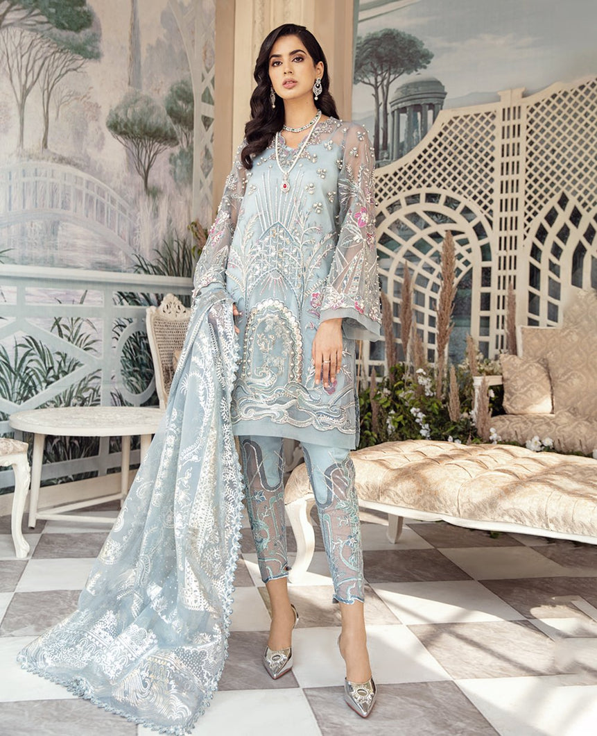 REPUBLIC WOMENSWEAR | Indian Pakistani Luxury Wedding Dresses Collection 2021-  Le glace LF48. Pakistani Formal Wear For Indian & Pakistani Women in the UK & USA. Exclusively designed Sharara style Gown with delicate embroidery on chiffon & silk fabric, matching dupatta is included. Available in Stitched and Unstitched