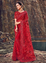 Load image into Gallery viewer, Red Floral Embroidered Saree