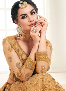 Gold Heavy Embroidered Lehenga by Alizeh