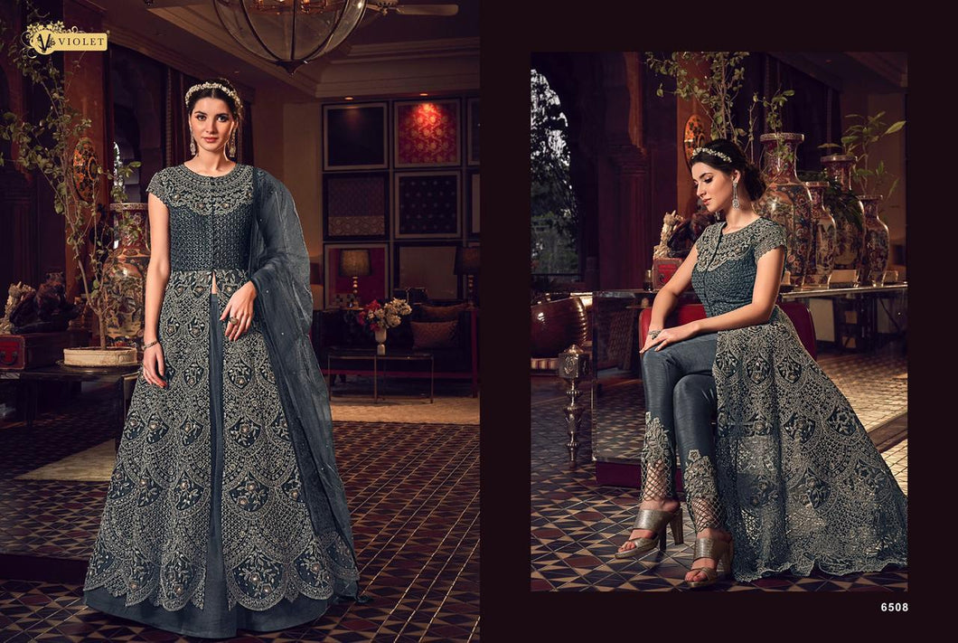 Anarkali Suit | New Violet Snow White DN6508