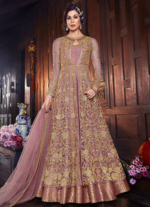 Pink Embroidered Jacket Style Anarkali