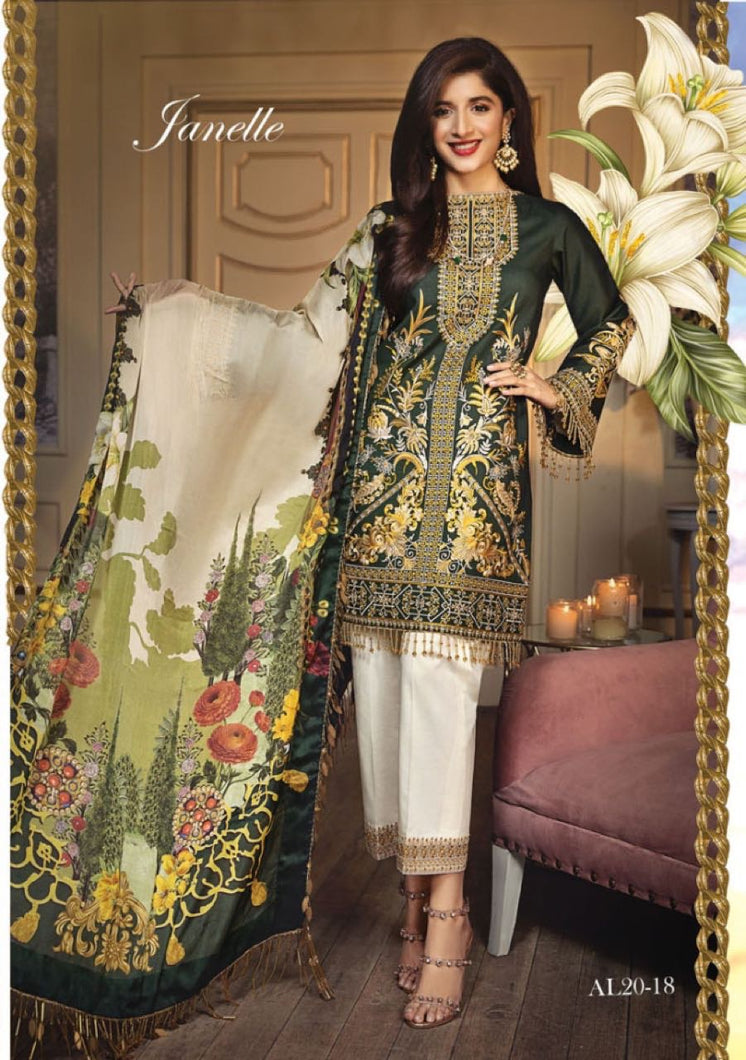 Anaya Luxury Lawn 2020 Suit nettle green and tropical