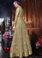 Load image into Gallery viewer, Green Embroidered Jacket Style Anarkali