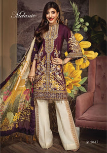 Anaya Luxury Lawn 2020 Suit maroon and tropical