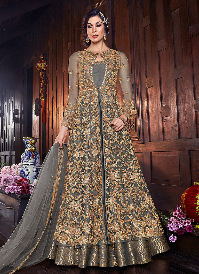 Grey Embroidered Jacket Style Anarkali