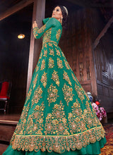 Load image into Gallery viewer, Sea Green and Pink Embroidered Lehenga/ Pant Style Anarkali