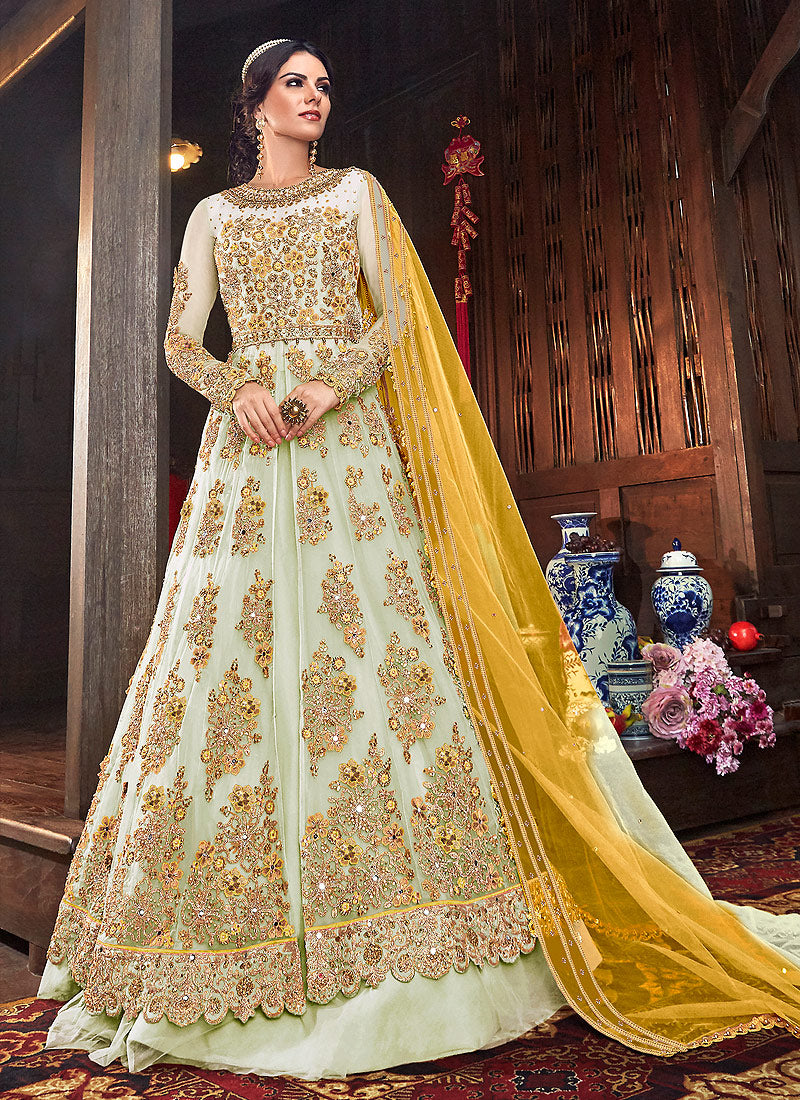 Offwhite and Yellow Embroidered Lehenga/ Pant Style Anarkali