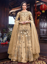 Load image into Gallery viewer, Cream and Gold Embroidered Jacket Style Anarkali