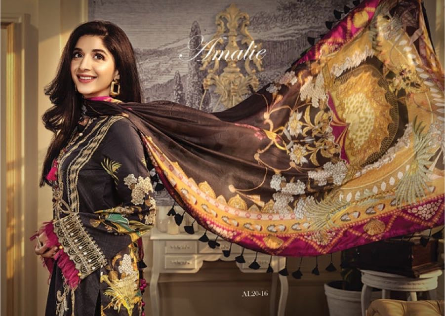 Anaya Luxury Lawn 2020 Suit black embroidered and tropical