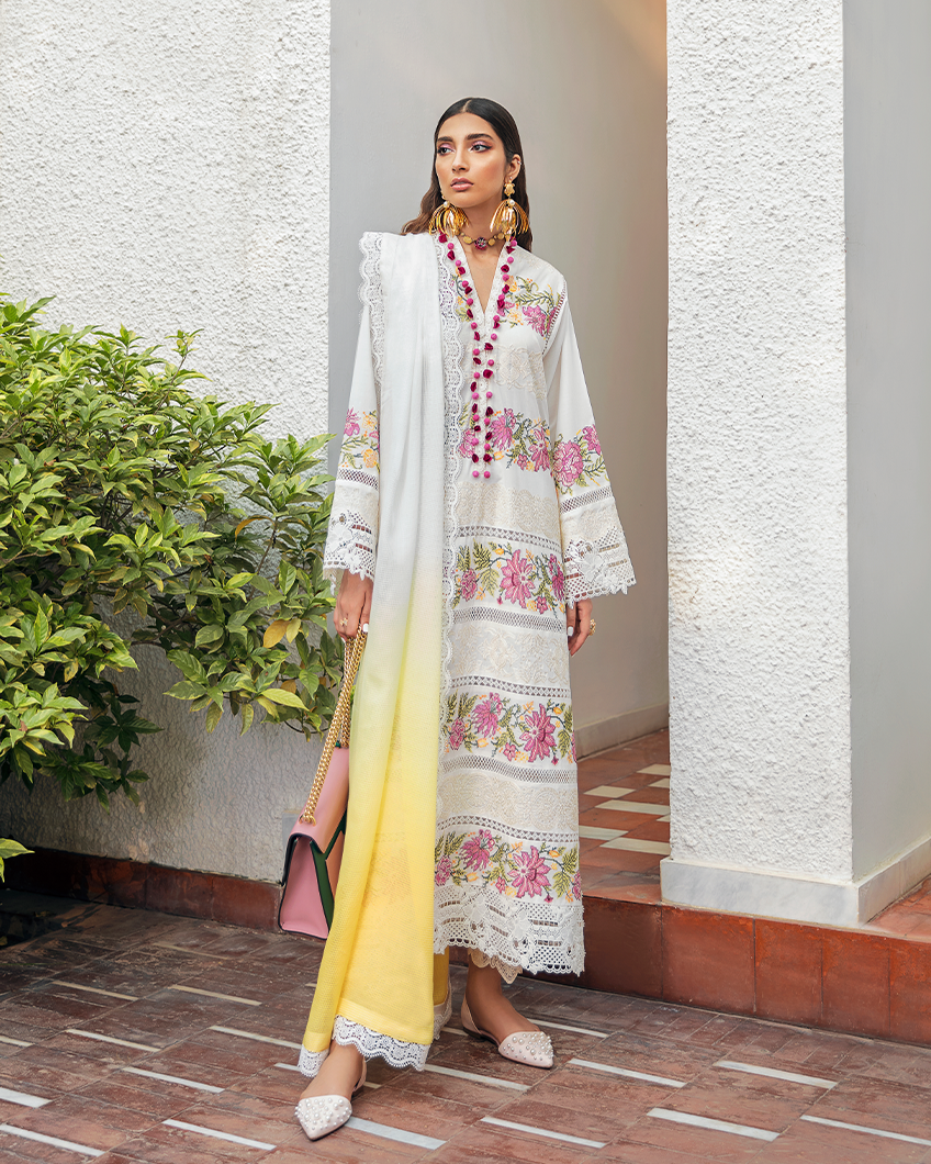 Buy Zaha Lawn Indian Pakistani Designer Suit 2020 - MASHAEL Online at Great Price in See Blue with White. A pastel hued beauty, 'Mashael' features embroidered florals in bloom on a dreamy periwinkle canvas. Book ready to wear/standard sizes or customise it at LebaasOnline
