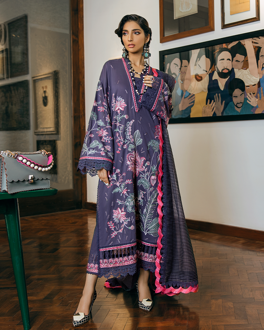 Buy Zaha Lawn Indian Pakistani Designer Suit 2020 - ZAIMA Online at Great Price in See Blue with White. A pastel hued beauty, 'Zaima' features embroidered florals in bloom on a dreamy periwinkle canvas. Book ready to wear/standard sizes or customise it at LebaasOnline