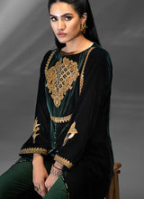 Load image into Gallery viewer, Nettle Green Velvet Kurti by Azalea - LebaasOnline