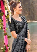 Load image into Gallery viewer, Grey and Black Embroidered Saree