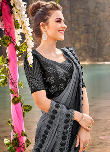 Grey and Black Embroidered Saree