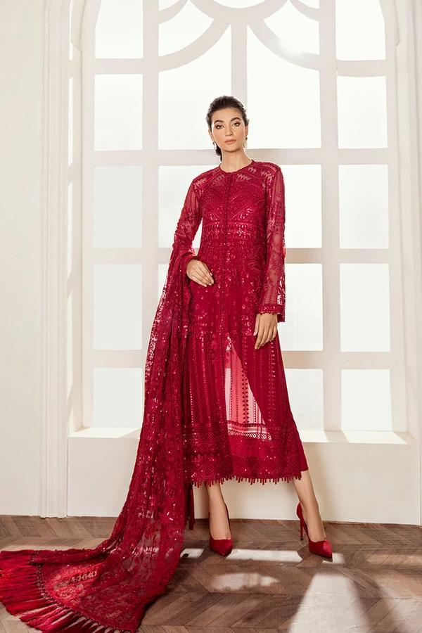 Buy Baroque Chiffon Collection 2021, Red from Lebaasonline Pakistani Clothes Stockist in the UK @ best price- SALE ! Shop  Baroque, Noor LAWN 2021, Maria B Lawn 2021 Summer Suits, Pakistani Clothes Online UK for Wedding, Party & Bridal Wear. Indian & Pakistani Summer Dresses by  Baroque in the UK & USA at LebaasOnline