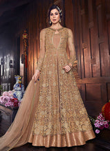 Load image into Gallery viewer, Golden Beige Embroidered Jacket Style Anarkali