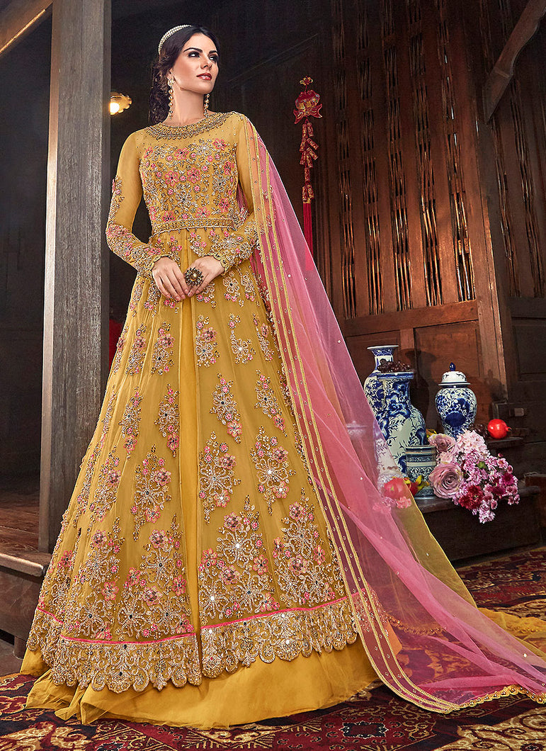 Mustard and Pink Embroidered Lehenga/ Pant Style Anarkali