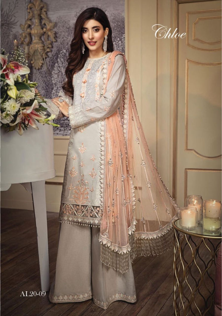 Anaya Luxury Lawn 2020 Suit fancy peach pink