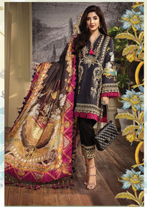 Anaya Luxury Lawn 2020 Suit cyan and tropical