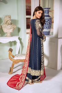 Maryum N Maria Premium Chiffon Suit Blue & Red