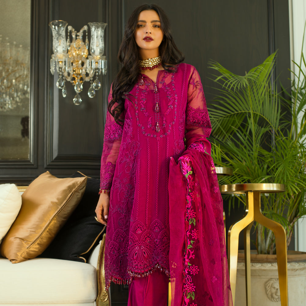 Mina Hasan Chiffon Luxury Suit 2020 in Magenta Pink