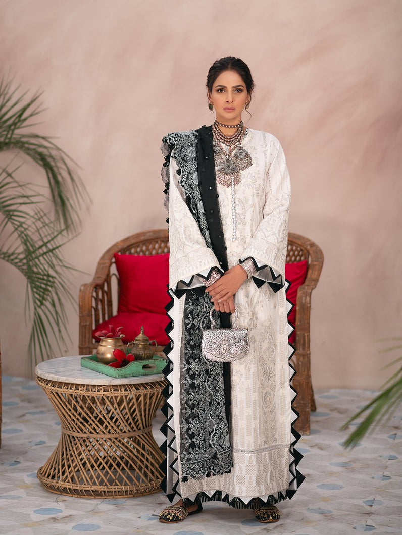 MARYAM HUSSAIN Luxury Lawn '21 Collection - AMBER White dress most popular Pakistani outfits for evening wear and winter season in the UK, USA and France. These 3 pc unstitched, stitched & READY MADE Indian & Pakistani Suits are best for Eid outfits. Shop Salwar Kameez by Maryam Hussain on SALE price at Lebaasonline!