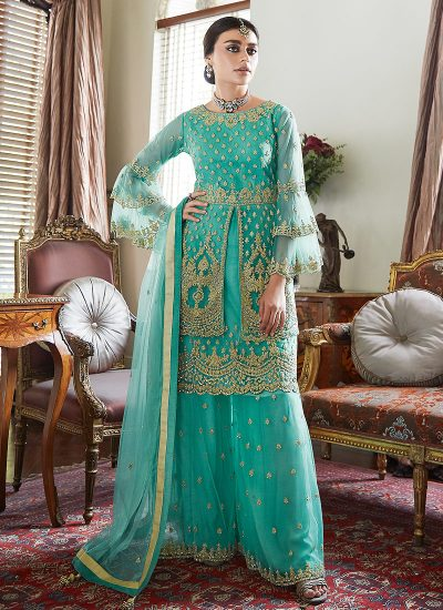 Turquoise Blue Sharara Suit For Wedding & Party by Aashirwad - LebaasOnline