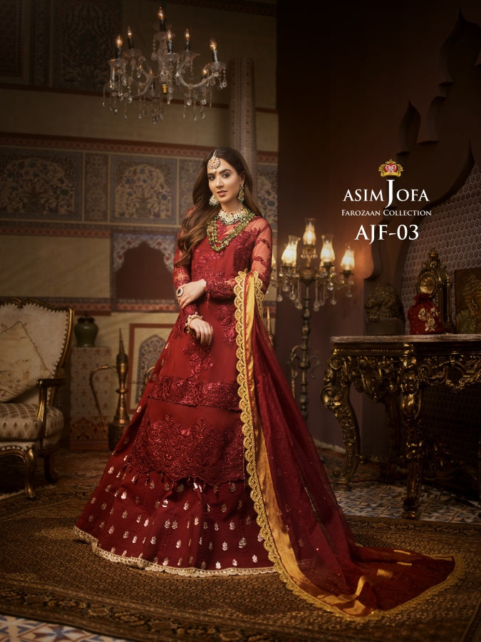 A luxurious embroidered outfit ideal for any wedding and celebrations. Shop Asim Jofa Party Wear Suits UK Online at LebaasOnline - Branded Pakistani designer dresses - SALE. Buy Now Asim Jofa Wedding Sharara Suit collection 2020 Unique and Ready Made Party Wear Sharara in the UK and USA with discount price !