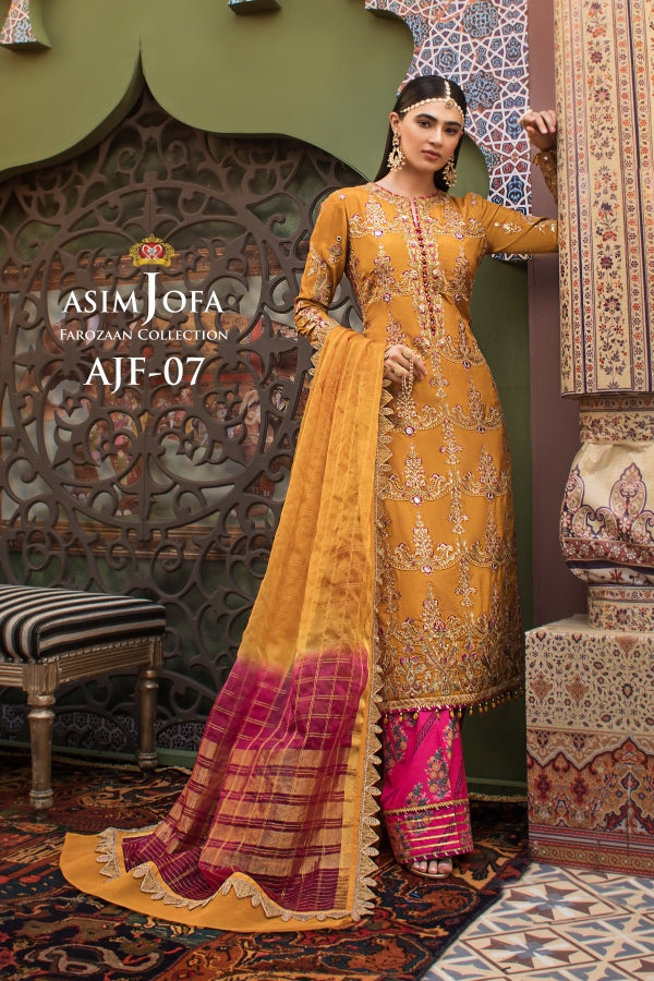 Asim Jofa Silk Salwar Kameez-A luxurious embroidered outfit ideal for any wedding, Eid & Nikah parties. Shop Asim Jofa Party Wear Suits UK Online at LebaasOnline - Branded Pakistani designer dresses. Unique and Ready Made Party Wear Salwar Kameez by Asim Jofa 2020 in the UK and USA with discount code.
