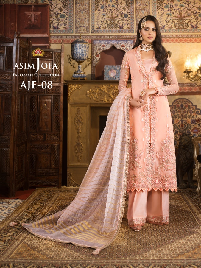 Asim Jofa Organza Collection Salwar Kameez-A luxurious embroidered outfit ideal for any wedding, Mehendi, Mahay, Eid & Nikah parties. Shop Asim Jofa Party Wear Suits UK Online at LebaasOnline - Branded Pakistani designer dresses. Unique and Ready Made Party Wear Salwar Kameez by Asim Jofa 2020 in Birmingham & London.