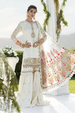 Load image into Gallery viewer, Buy MARIA B SATEEN Off-white Pakistani Ready made, Stitched & unstitched 3 pc Suits Collection 2020 in the UK for Party & Wedding Festivities. Shop Now MARIA B SATEEN & Silk Off-White Indian Pakistani Dresses & Designer Wear for UK Asian Women Online at Best Price from LebaasOnline Boutique.