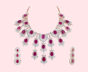 Ruby & Rose American Diamond Necklace Set
