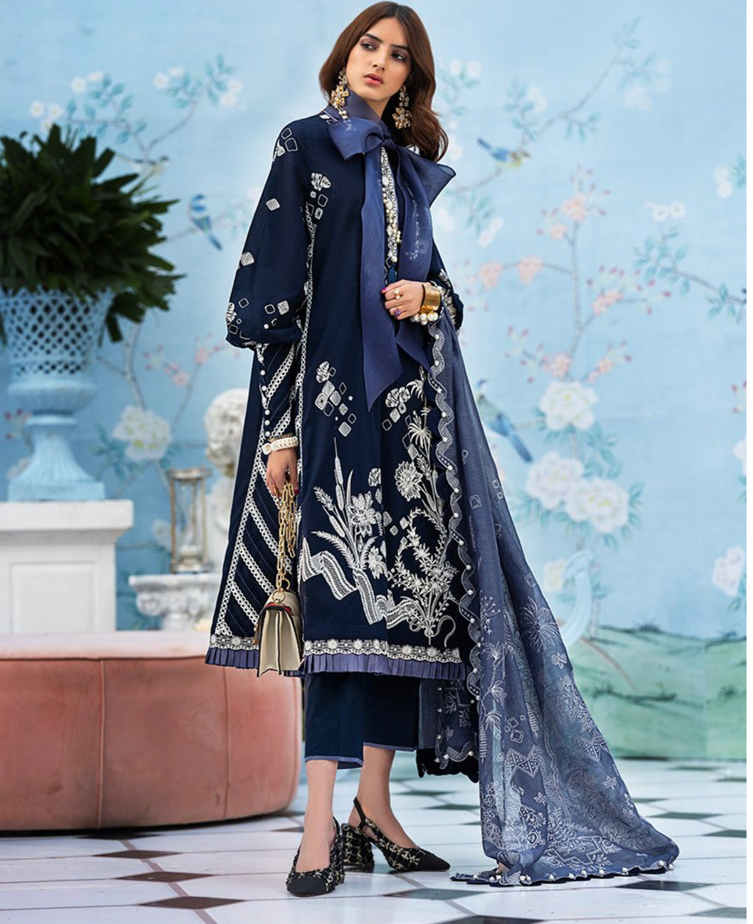 Zaha Lawn Suit 2020-DEEP BLUE