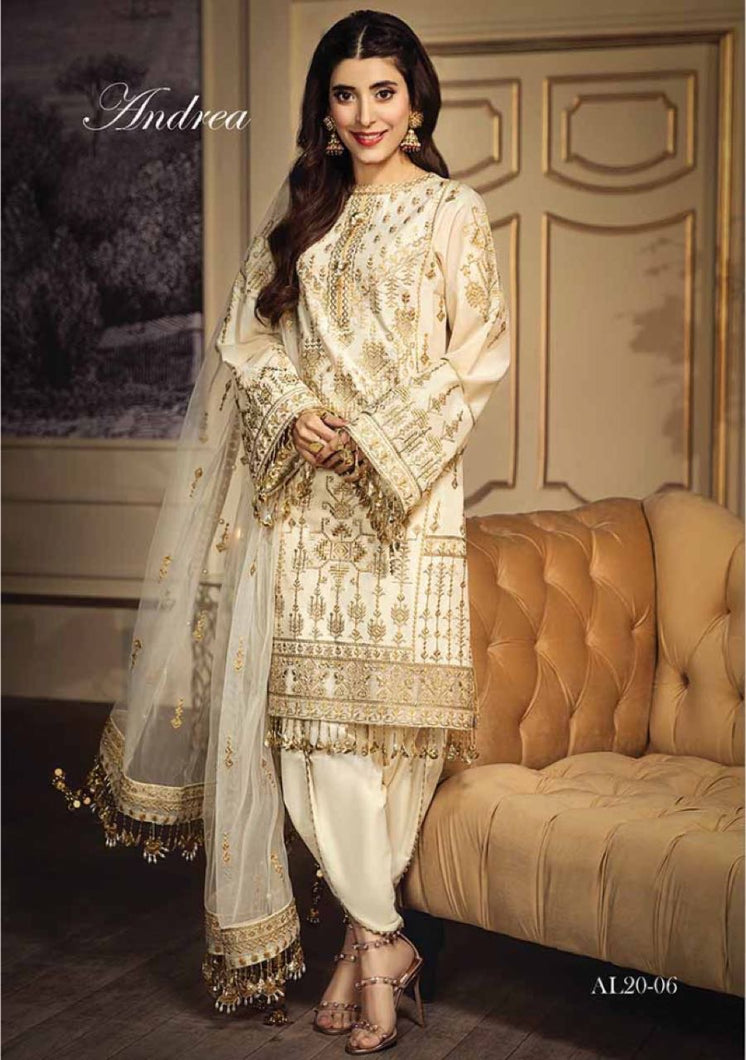 Anaya Luxury Lawn 2020 Suit creamy white