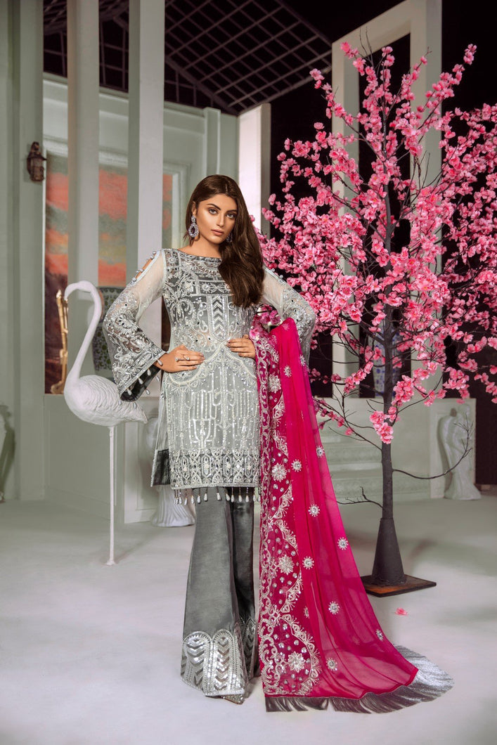 Maryum N Maria Premium Chiffon Suit Silver Pink