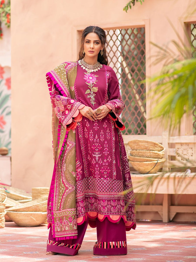 MARYAM HUSSAIN Luxury Lawn '21 Collection -CHAMBELI Pink dress most popular Pakistani outfits for evening wear and winter season in the UK, USA and France. These 3 pc unstitched, stitched & READY MADE Indian & Pakistani Suits are best for Eid outfits. Shop Salwar Kameez by Maryam Hussain on SALE price at Lebaasonline!