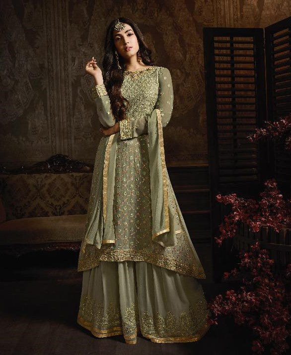 Maisha Indian Designer Anarkali Suit-Midnight Green