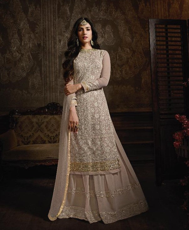Maisha Indian Designer Anarkali Suit-Golden Beige