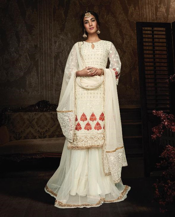 Maisha Indian Designer Anarkali Suit-Creamish White