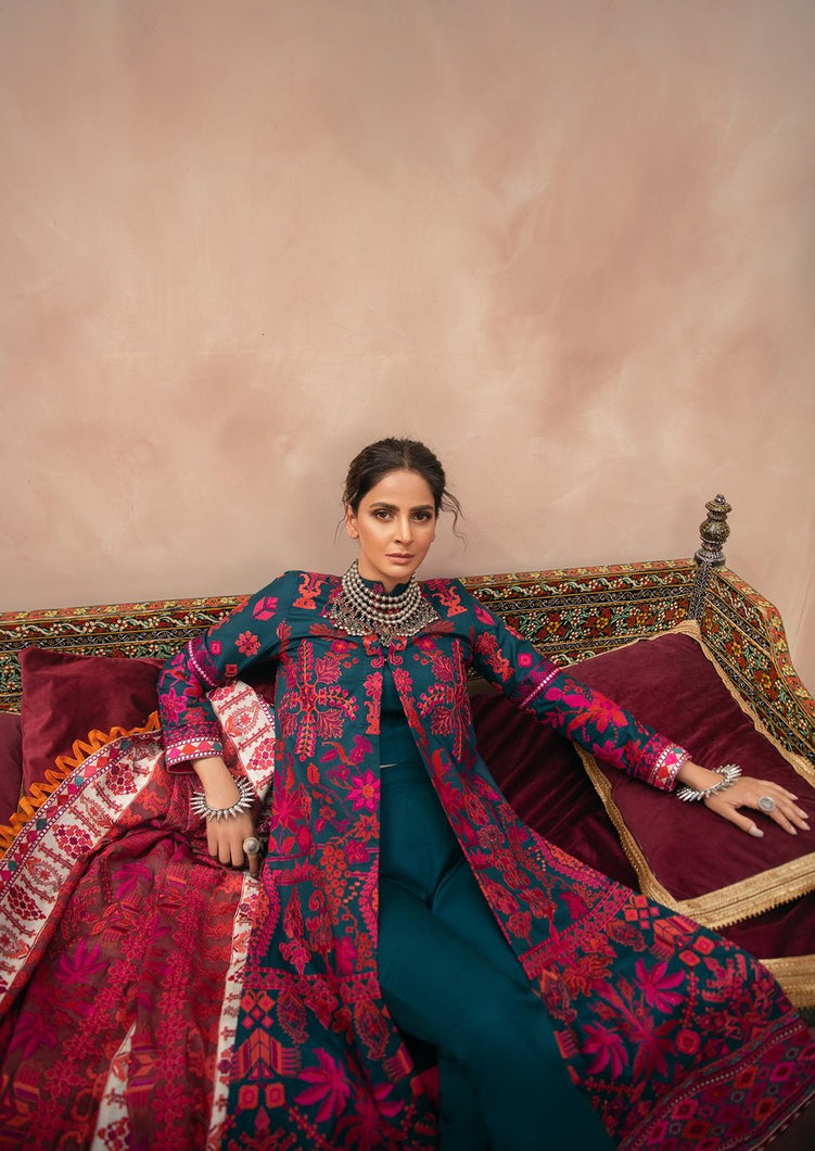 MARYAM HUSSAIN Luxury Lawn '21 Collection - ZEENIA Blue dress most popular Pakistani outfits for evening wear and winter season in the UK, USA and France. These 3 pc unstitched, stitched & READY MADE Indian & Pakistani Suits are best for Eid outfits. Shop Salwar Kameez by Maryam Hussain on SALE price at Lebaasonline!