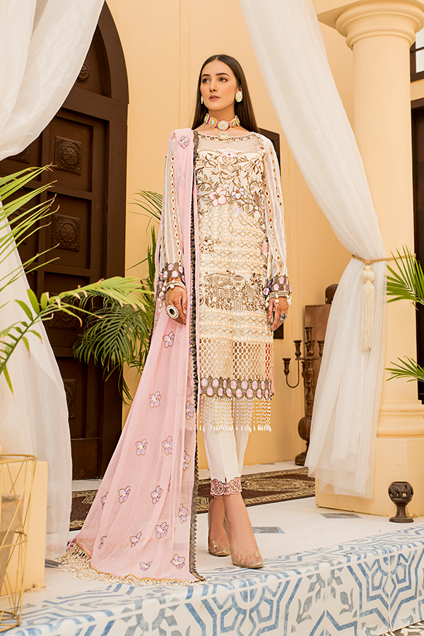 Fustaan By Maryams 2021 | D-7 Nureh PAKISTANI DRESSES & READY MADE PAKISTANI CLOTHES UK. Buy Maryams UK Embroidered Collection of Winter Lawn, Original Pakistani Brand Clothing, Unstitched & Stitched suits for Indian Pakistani women. Next Day Delivery in the UK . Express shipping to USA, France, Germany & Denmark