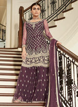 Load image into Gallery viewer, Maroon Sharara Suit For Wedding & Party by Aashirwad - LebaasOnline