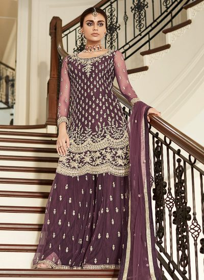Maroon Sharara Suit For Wedding & Party by Aashirwad - LebaasOnline